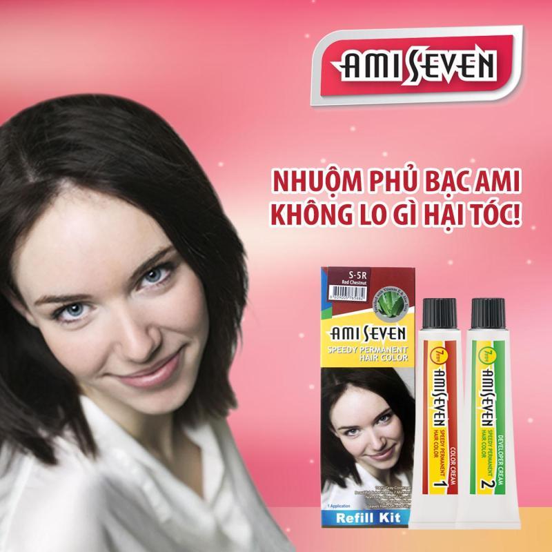 Nhuộm phủ bạc dược thảo Ami Seven Speedy Permanent Hair Color  (60g/60g) - Hàn Quốc - loại tiết kiệm- màu S5R: Hạt dẻ ánh đỏ cao cấp