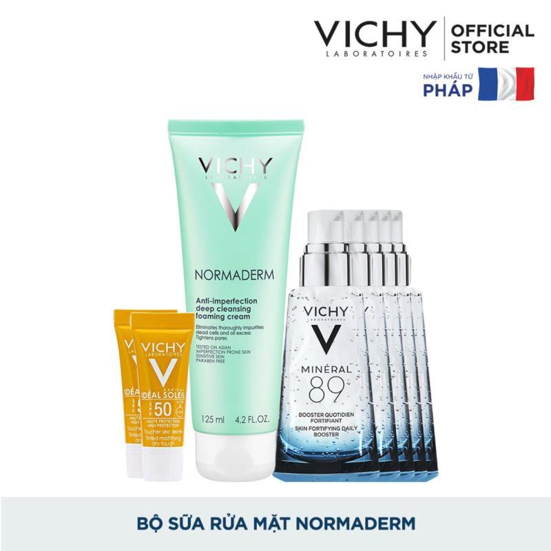 Bộ Sữa rửa mặt dạng kem giúp ngừa mụn & se khít lỗ chân lông Vichy Normaderm Foaming Cream nhập khẩu
