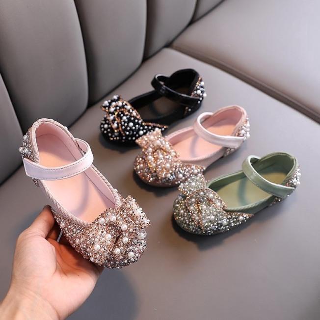 Giày Búp Bê Phối Nơ Hạt Ngọc Trai Xinh Xắn Cho Bé Gái Từ 2-6 Tuổi -Giày Xinh Cho Bé  Gái -Giayf Búp Bê Bé Gái -G10 giá rẻ