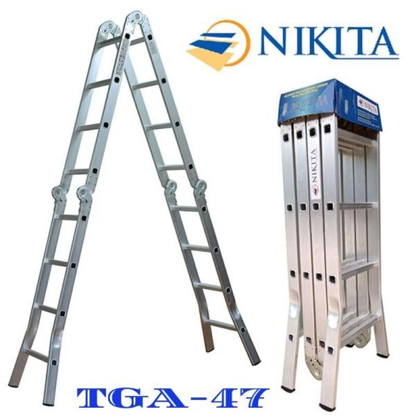 Thang Nhôm Gấp 4 Đoạn Nikita [Chữ I: 4,7M; Chữ A: 2.3M Nik44A Nhật Bản