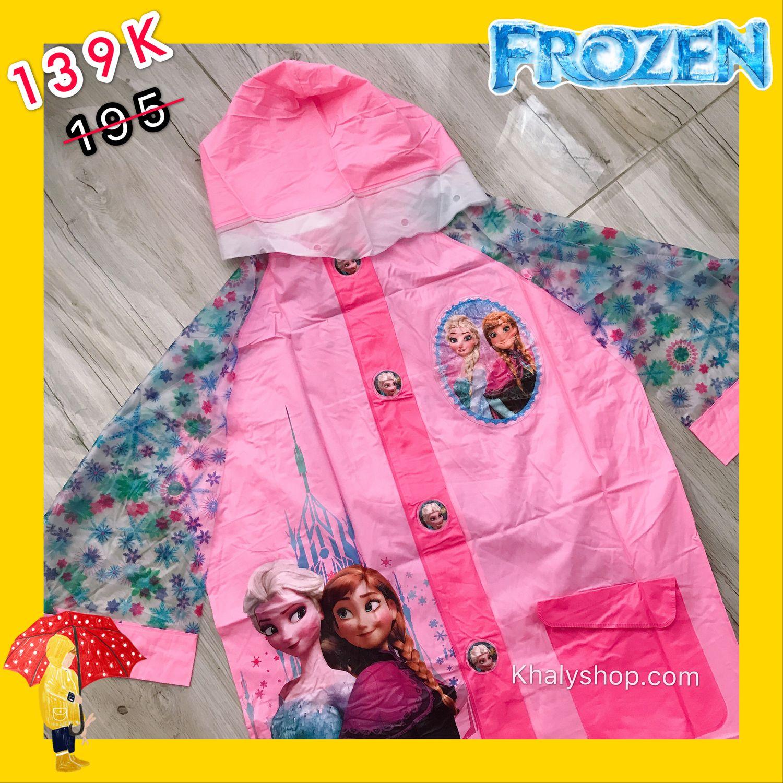 Giá bán Áo mưa hình Frozen Elsa và Anna màu hồng kèm túi xách 2 quai dành cho trẻ em còn size (L-XL-XXL) - 40FZAM2QT152