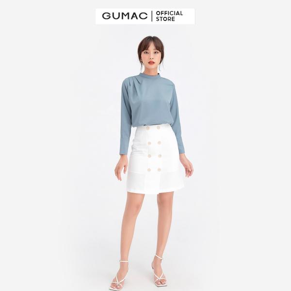 Nơi bán Chân váy nữ phối nút GUMAC VB632