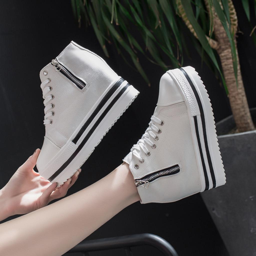 [KKL] Women's Fashion Canvas Casual Sport Platform Height Increasing Shoes Sneakers Running Shoes