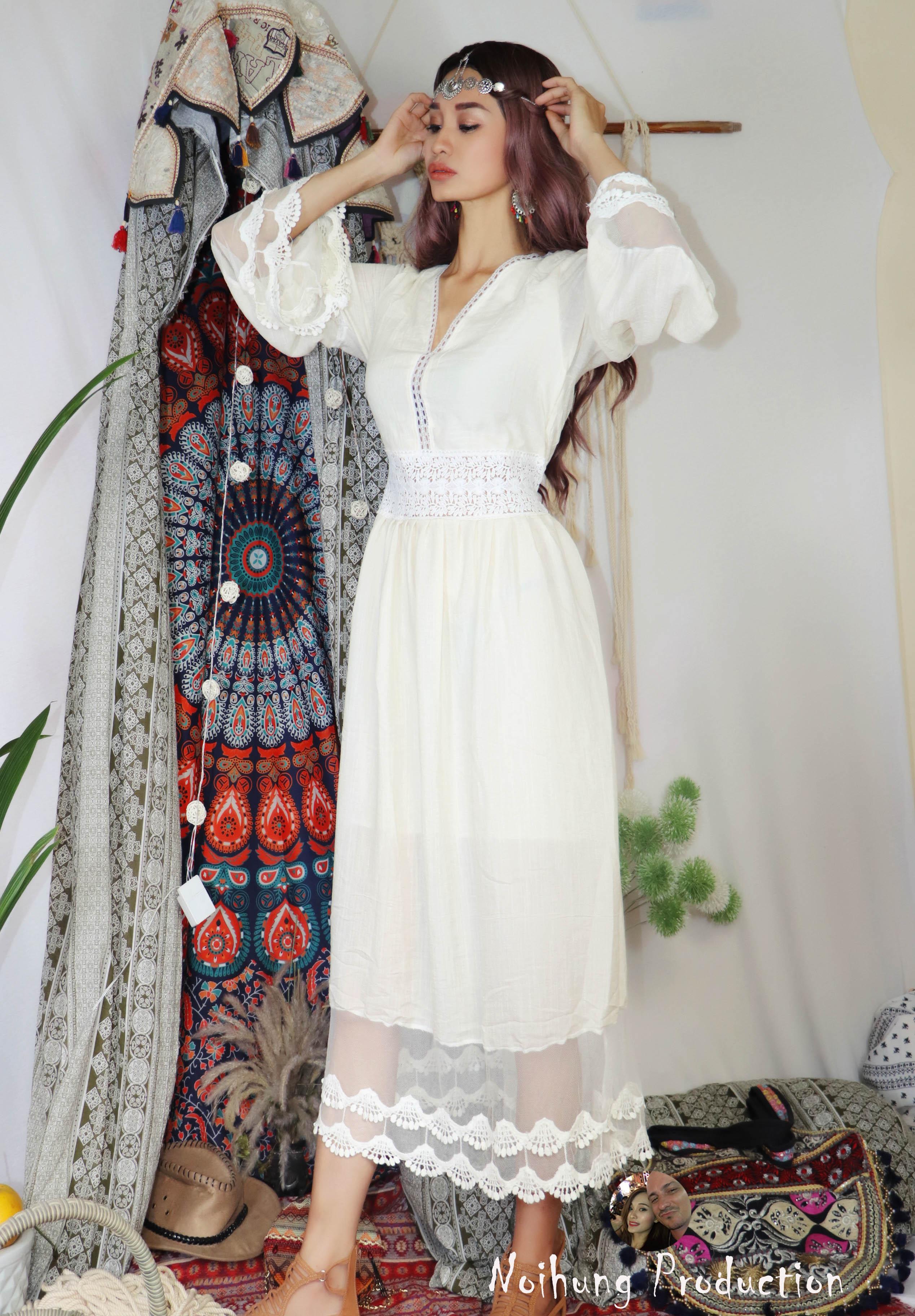 40-70KG Đầm Váy Bohemian maxi vintage trắng dáng xòe dài suông rộng...