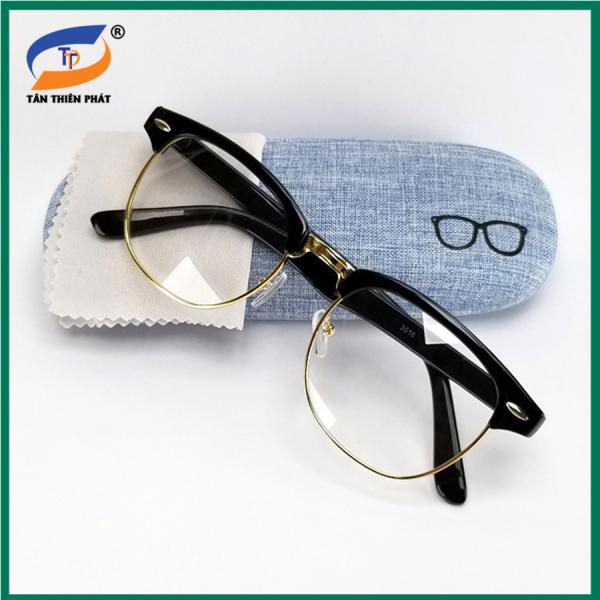 Giá bán Gọng kính cận nam nữ màu đen và xám, tròng giả cận 0 độ chống ánh sáng xanh. Khung gọng kim loại bền bỉ, không kém size mặt.