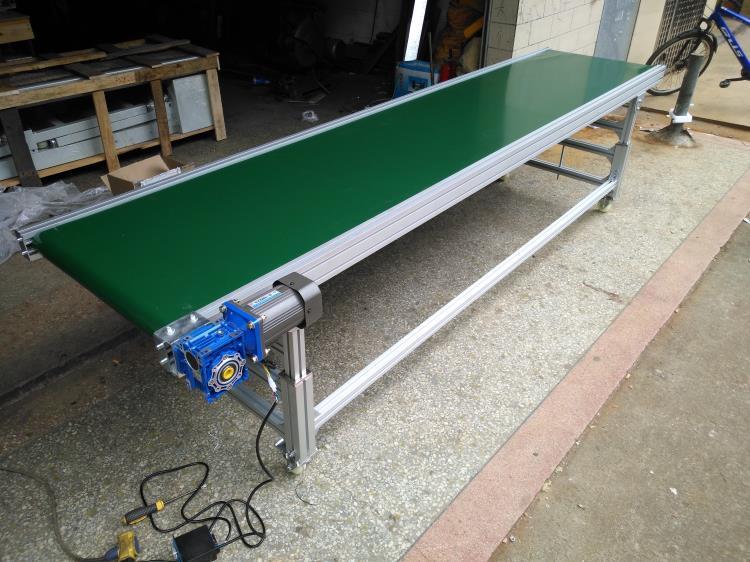 Horizontal PVC conveyor belt adjustable height speed with controller box transport conveyor express Logistics sorting line