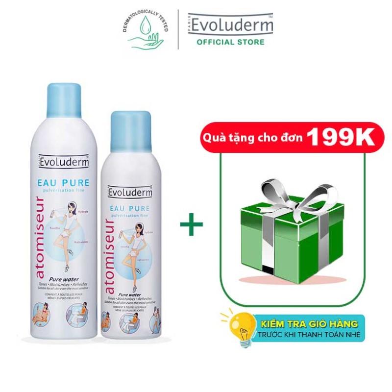 [Đơn 199k - Tặng quà] Bộ 2 sản phẩm xịt khoáng dưỡng da cấp ẩm Evoluderm Atomiseur Eau Pure 400ml và 150ml