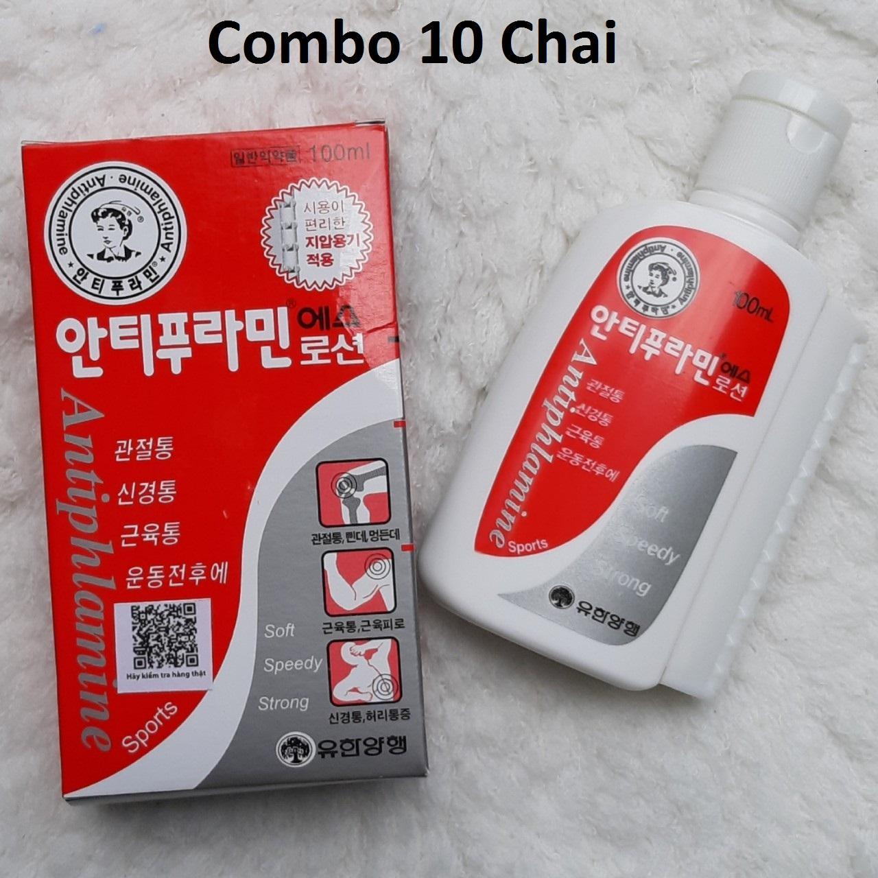 10 Chai Dầu nóng Hàn Quốc Antiphlamine - Xoa bóp nhức mỏi 100ml