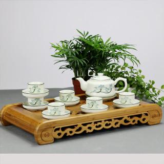 Bộ ấm chén men kem hoa sen xanh gốm sứ Bát Tràng (bộ bình uống trà, bình trà) thumbnail