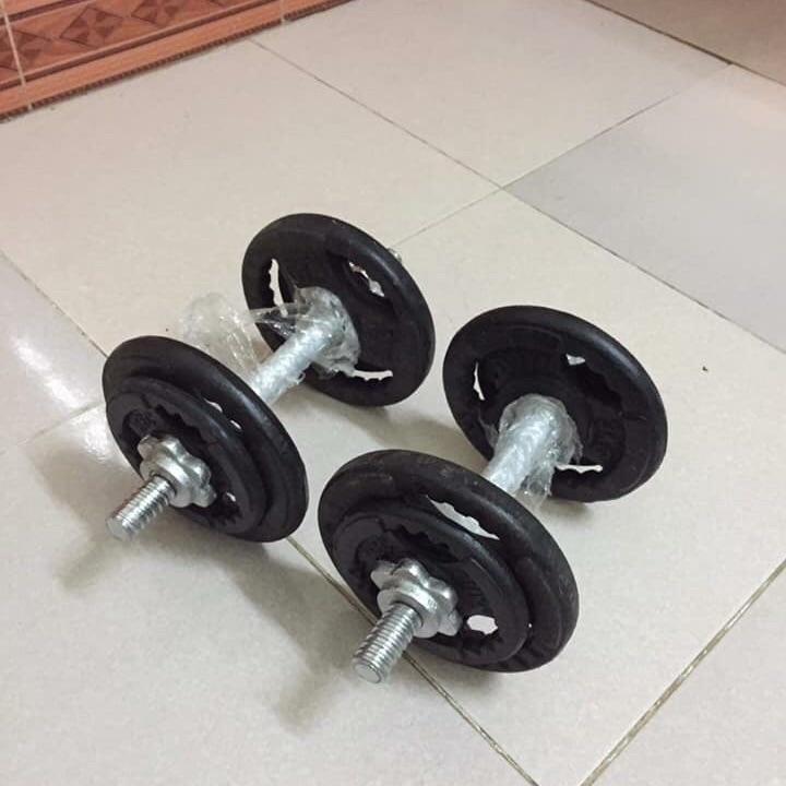 Siêu Tiết Kiệm Khi Mua Tạ Tay Tháo Lắp đôi 7,8kg ( 12kg Tạ Và đòn Tay 35cm) Tặng Găng Tay