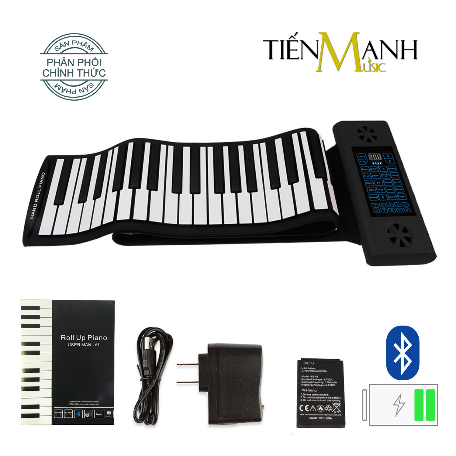 Đàn Piano Điện Konix PS61 - 61 phím cuộn mềm dẻo Flexible PS-61 - (Roll Up Piano - Pin sạc 170mAh - Midi Keyboard Controller)
