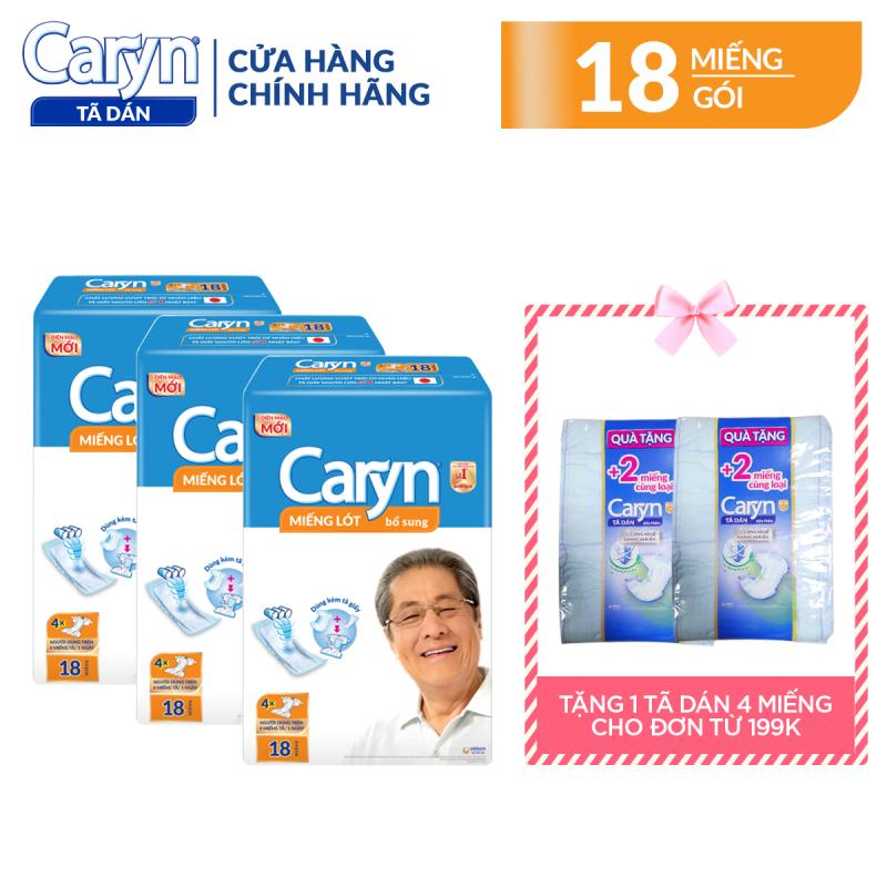 Combo 3 gói miếng lót bổ sung Caryn 18 miếng cho người lớn (54 miếng), với công nghệ nano bạc kháng khuẩn ngăn ngừa vi khuẩn và kiểm soát mùi hiệu quả
