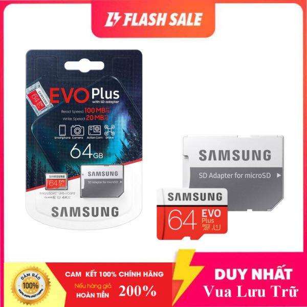 Thẻ nhớ MicroSDXC Samsung Evo Plus 64GB U3 4K- W60MB-R100MB - box Anh New 2020 (Đỏ) + Kèm Adapter