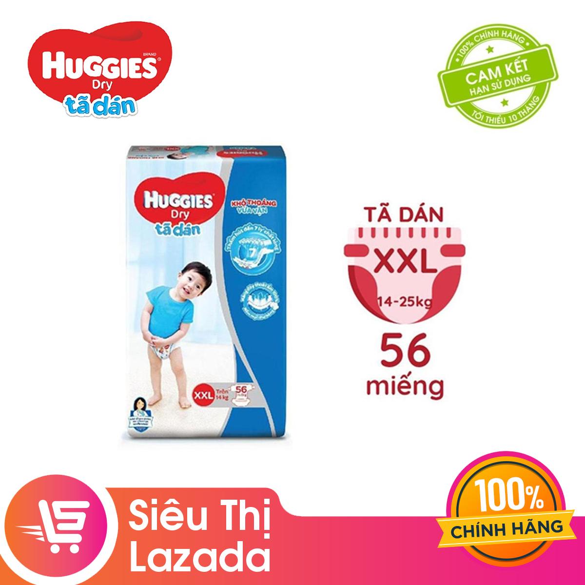 [GIẢM 40K ĐƠN 799K] Tã/bỉm dán Huggies Dry Super Jumbo XXL56 - Gói 56 miếng (Cho bé trên 14kg)