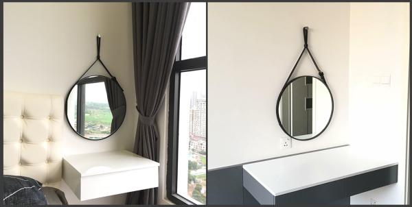 Gương Tròn Treo Tường Gương Dây Da Simili Cao Cấp Trang Trí Decor Đường Kính 50cm Mirror Decor, Gương Để Bàn Trang Điểm, Gương Phòng Tắm,Gương Xuất Khẩu