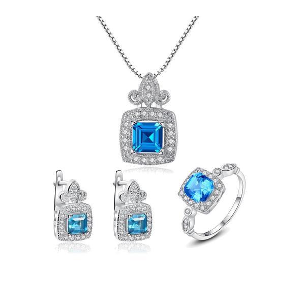 Bộ trang sức bạc cho nữ trang sức đính đá cao cấp 3 món BNT616 Bảo Ngọc Jewelry [THIẾT KẾ ĐỘC QUYỀN]