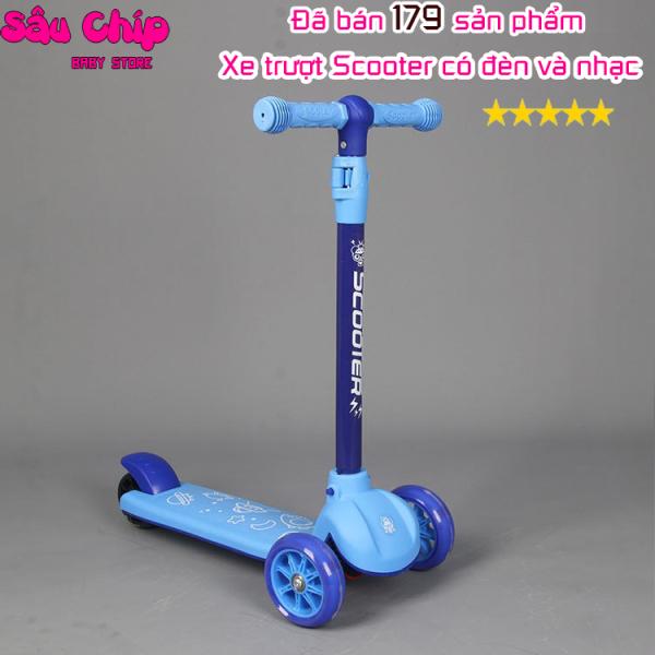Mua Xe Trượt Scooter Trẻ Em Cao Cấp 601 Dành Cho Bé Từ 2-13 Tuổi Có Nhạc Và Đèn Phát Sáng, Trọng Tải Lớn