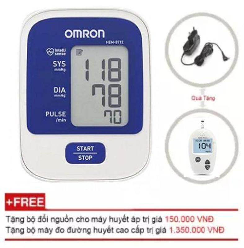 Máy đo huyết áp Omron Hem 8712 + Tặng Máy đo đường huyết Safe-accu + Tặng bộ đổi nguồn điện AC nhập khẩu