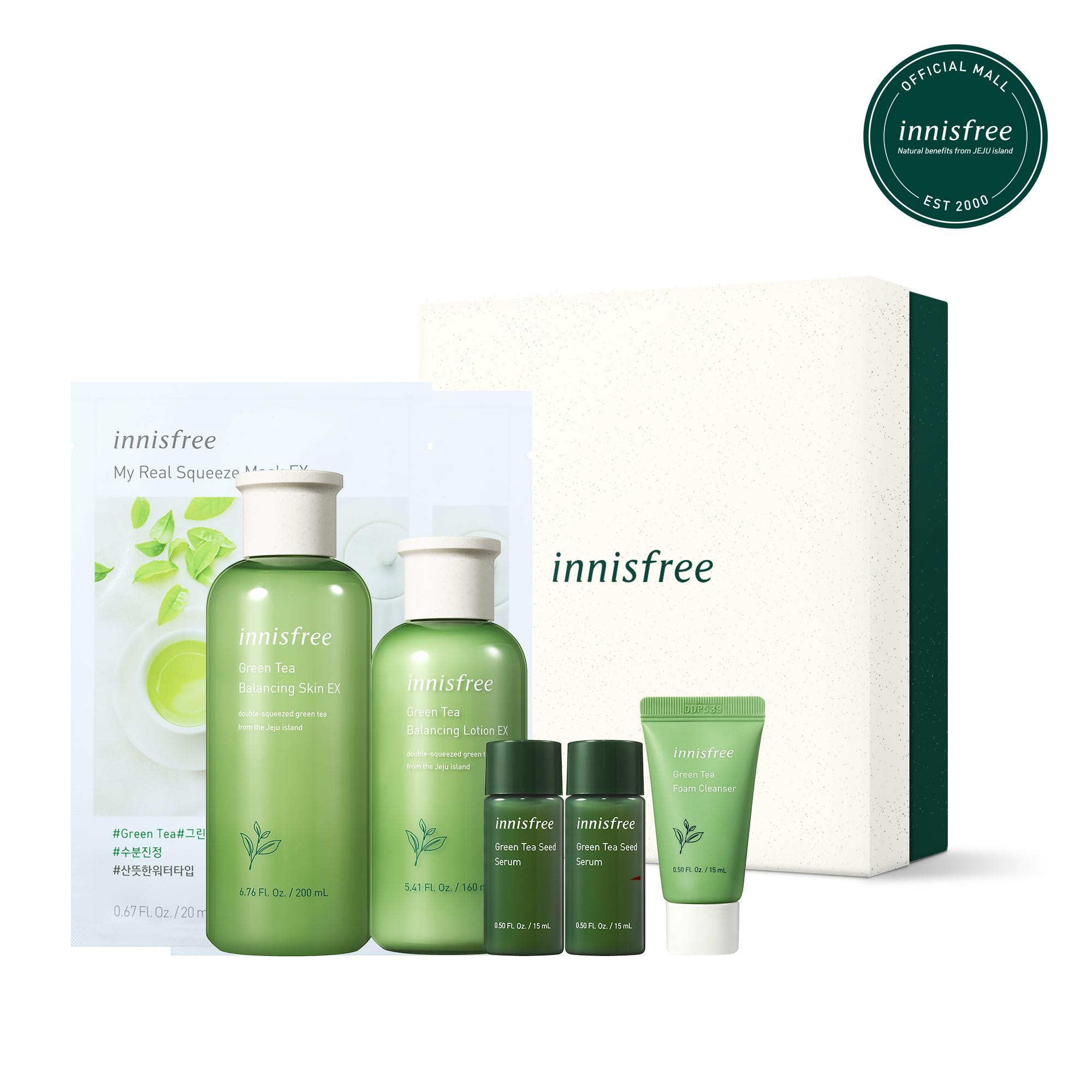 Bộ sản phẩm 5 bước chăm sóc độ ẩm toàn diện từ trà xanh innisfree Green Tea Set nhập khẩu