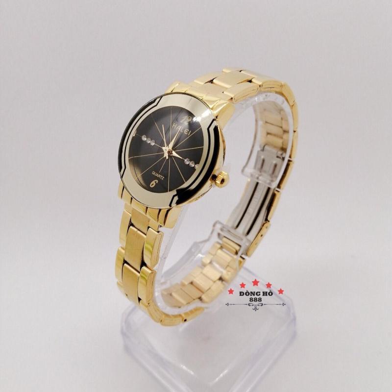 Đồng hồ nữ HALEI dây kim loại thời thượng ( HL457 dây vàng mặt đen ) - TẶNG 1 vòng tỳ hưu phong thuỷ
