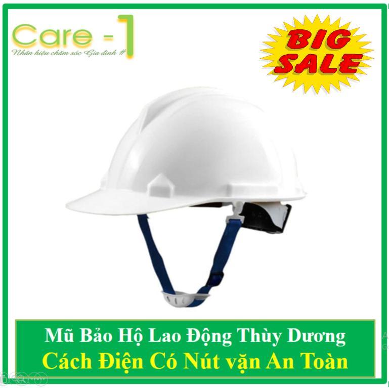 Mũ Bảo Hộ Thùy Dương Cách Điện 3kv Có Nút Vặn An Toàn - Tặng 01 Găng Tay len Bảo Hộ