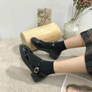 Giày Nữ Mary Janes da bóng phong cách hàn quốc