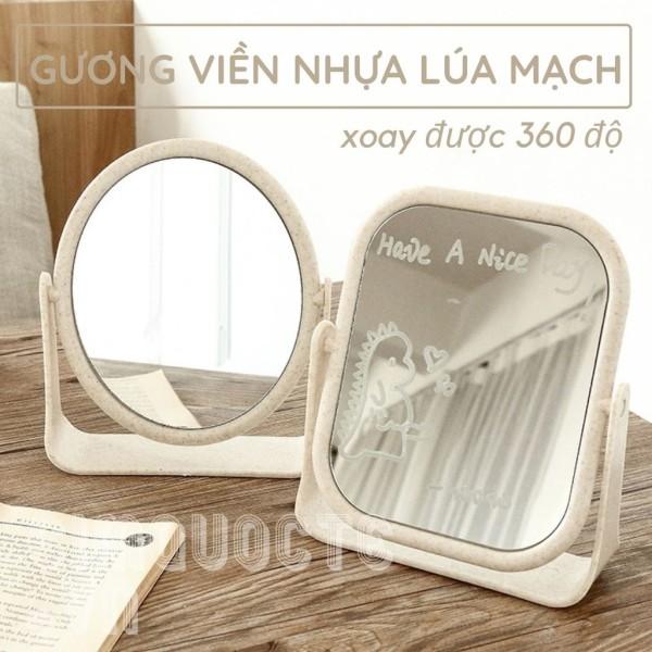 Gương trang điểm để bàn lúa mạch 2 mặt gương xoay 360 độ