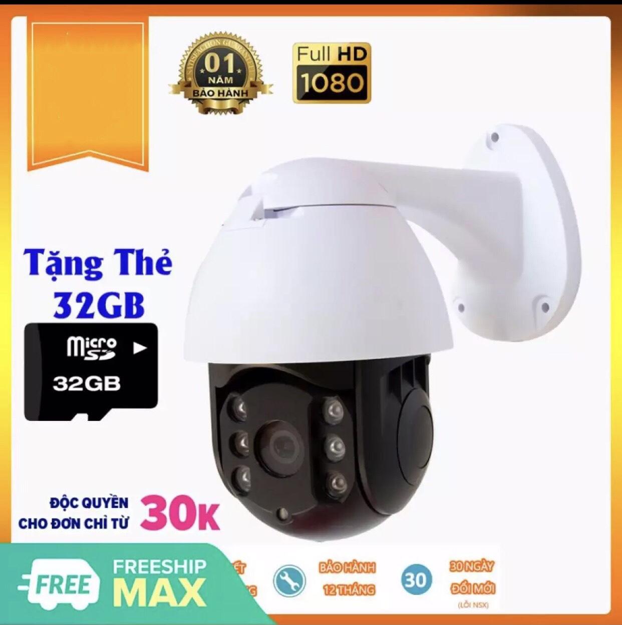 (Tặng kèm thẻ nhớ 32GB)Camera ip wifi Carecam chuẩn FullHD1080-2.0Mpx xoay 360 độ ngoài trời - PTZ 19HS200 chống nước, chống trộm tốt. xem 4 camera cùng lúc trên màn hình, hỗ trợ thẻ nhớ lên đến 128GB, đàm thoại 2 chiều.