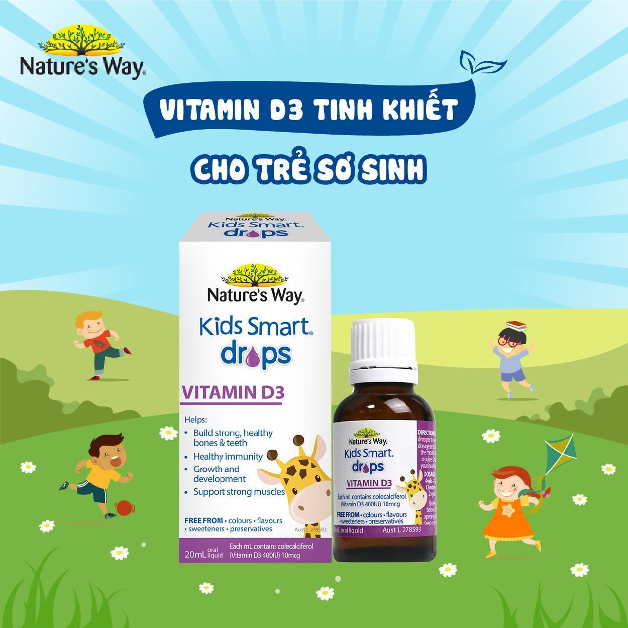 Nature's Way Kids Smart Drop Vitamin D3 - Vitamin D3 tinh khiết cho trẻ sơ sinh