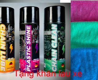 [Tặng khăn lau] Bộ 3 sản phẩm bôi trơn sên- dung dịch vệ sinh sên-chai dưỡng nhựa nhám đánh bóng lốp- thumbnail
