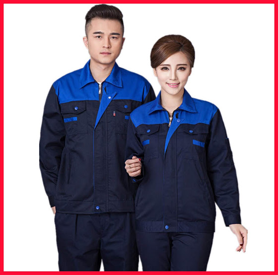 Quần áo bảo hộ lao động SHUNI05QA kaki loại dày khóa kéo (than phối xanh)