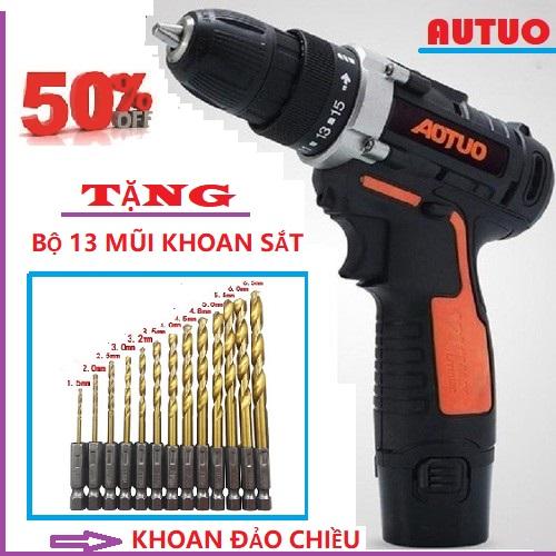 (có lựa chọn 1 pin hoặc 2 pin) máy khoan pin 12v tặng kèm bộ 13 mũi khoan cao cấp, máy khoan vặn vít cầm tay, khoan đảo chiều