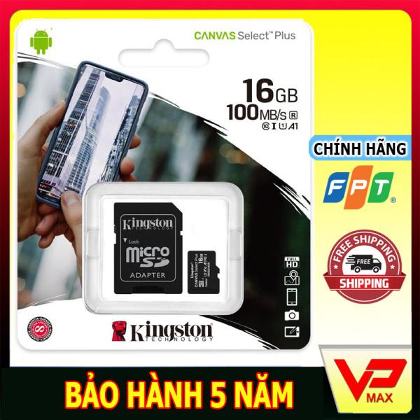 (Kèm Adapter) Thẻ Nhớ MicroSDHC 16GB Kingston Canvas Select Plus Class 10 U1 100MB/s dùng cho điện thoại camera