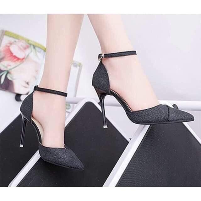 Giá bán giày cao gót 8 phân nhũ kim tuyến đắp chéo chân