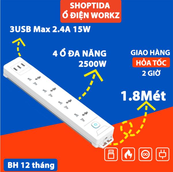 Ổ Cắm Điện Đa Năng WORKZ Shoptida 3 Cổng USB sạc tối đa tổng 12W và 4 Ổ Điện chịu tải 2500W Dây nối dài 1.8m chống cháy