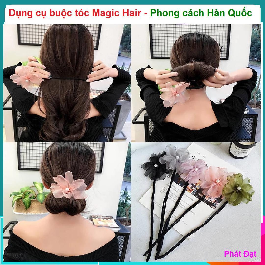 (Có video hướng dẫn buộc tóc) Dụng cụ buộc tóc Magic Hair - Dây buộc tóc - phụ kiện chăm sóc tóc cho phụ nữ, Thanh búi tóc kèm nơ hoa độc đáo tốt nhất