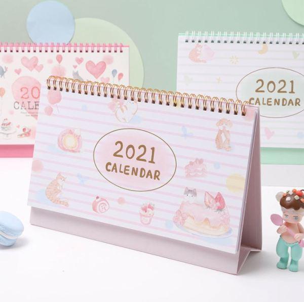 Mua Lịch Để Bàn 2021 Dessert House Cat Desk Calendar