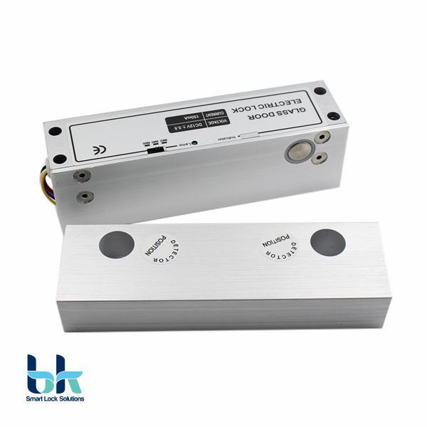 Khóa chốt rơi - Chốt khóa cửa điện từ gắn cửa kính BK Smart Lock BK-L04B12 thường mở, 12V độ trễ 0s 3s 6s