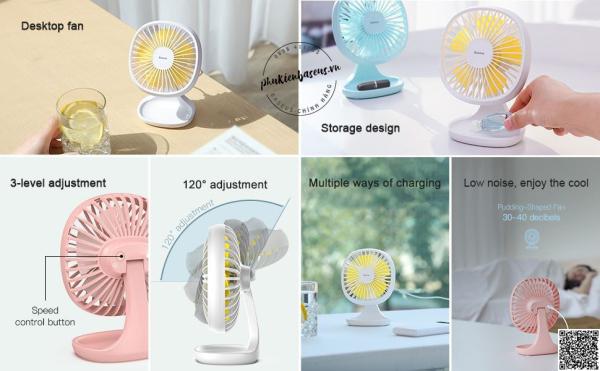 Quạt mini để bàn Baseus Pudding Shaped Fan - Mini USB Air Cooling Fan Clip Desk Fan