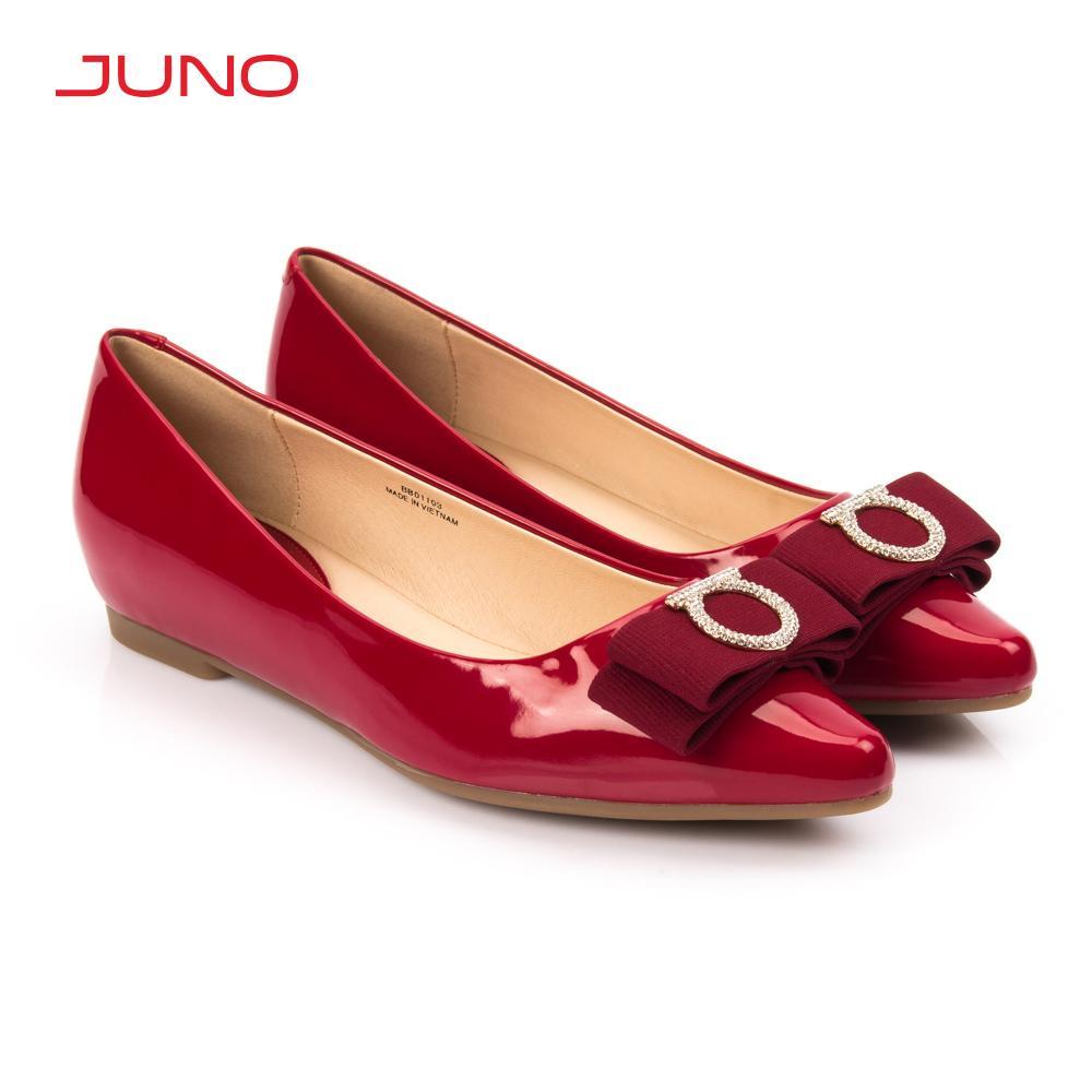 Giày búp bê mũi nhọn đính nơ trang trí Juno BB01103