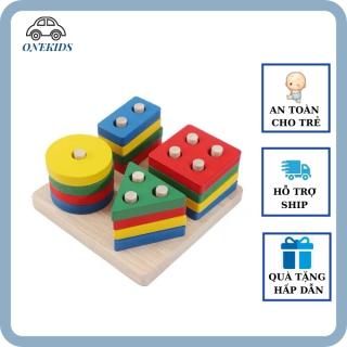 [FreeShip] Đồ chơi xếp hình thả hình trụ gỗ TK2 Onekids nhiều màu sắc phân biệt hình khối luyện tư duy quan sát cho bé từ 1-2 tuổi thumbnail