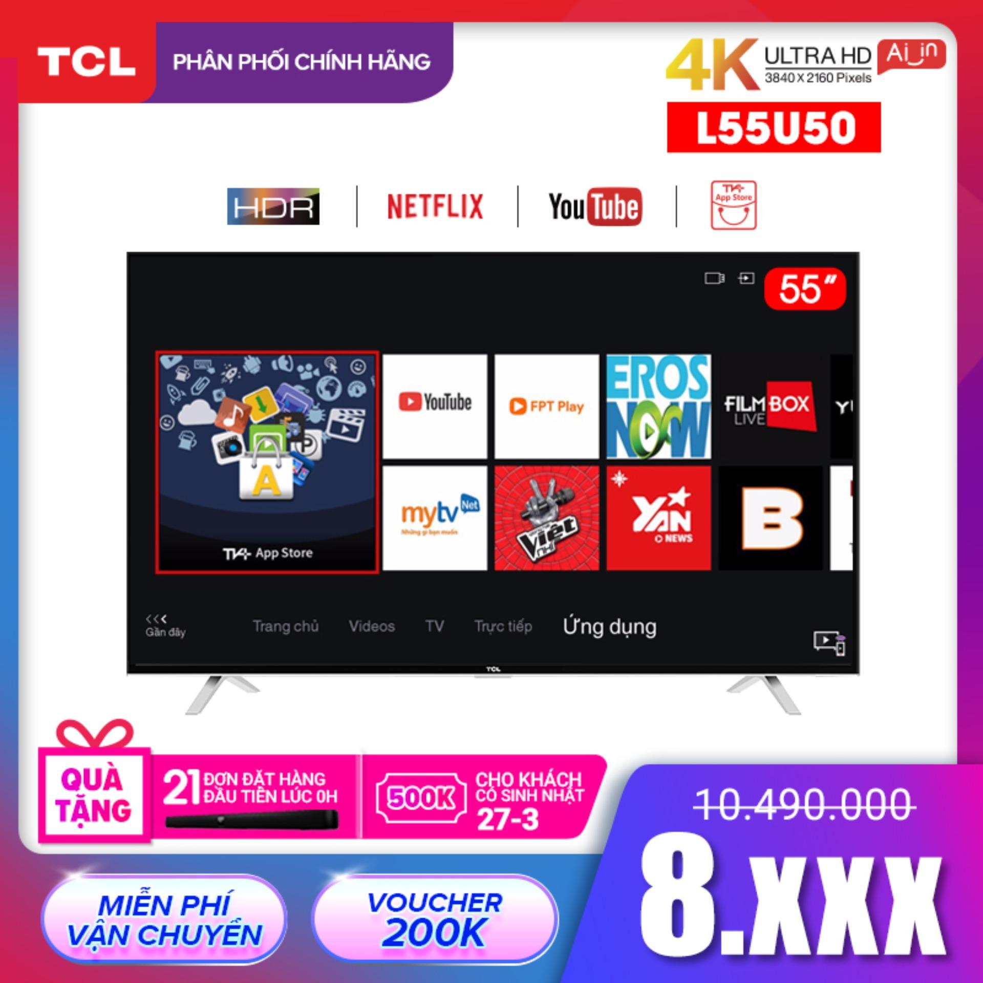 Bảng giá Smart TV TCL 55 inch 4K UHD wifi - L55U50 - HDR, Micro Dimming, Dolby, T-cast - Tivi giá rẻ chất lượng - Bảo hành 3 năm - [Sản phẩm MỚI, ĐỘC QUYỀN trên Lazada]