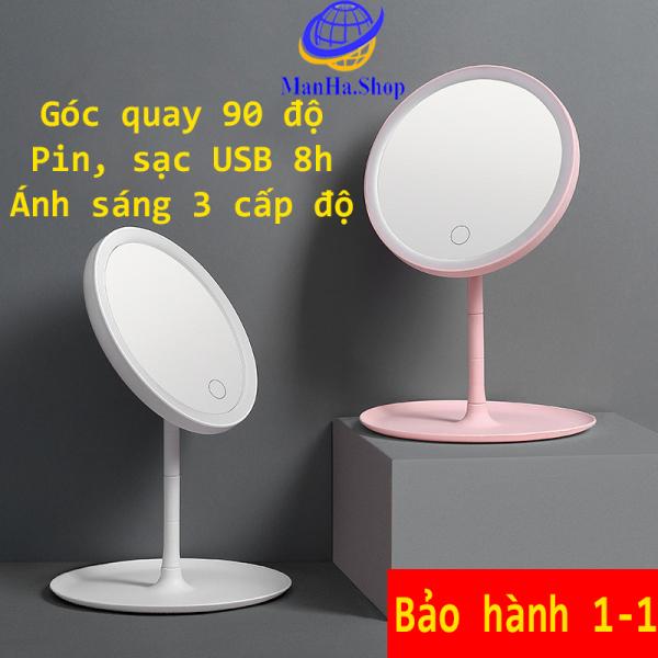 Gương trang điểm có đèn led ánh sáng 3 cấp độ, Gương trang điểm pin sạc USB, Bảo hành 1-1 giá rẻ