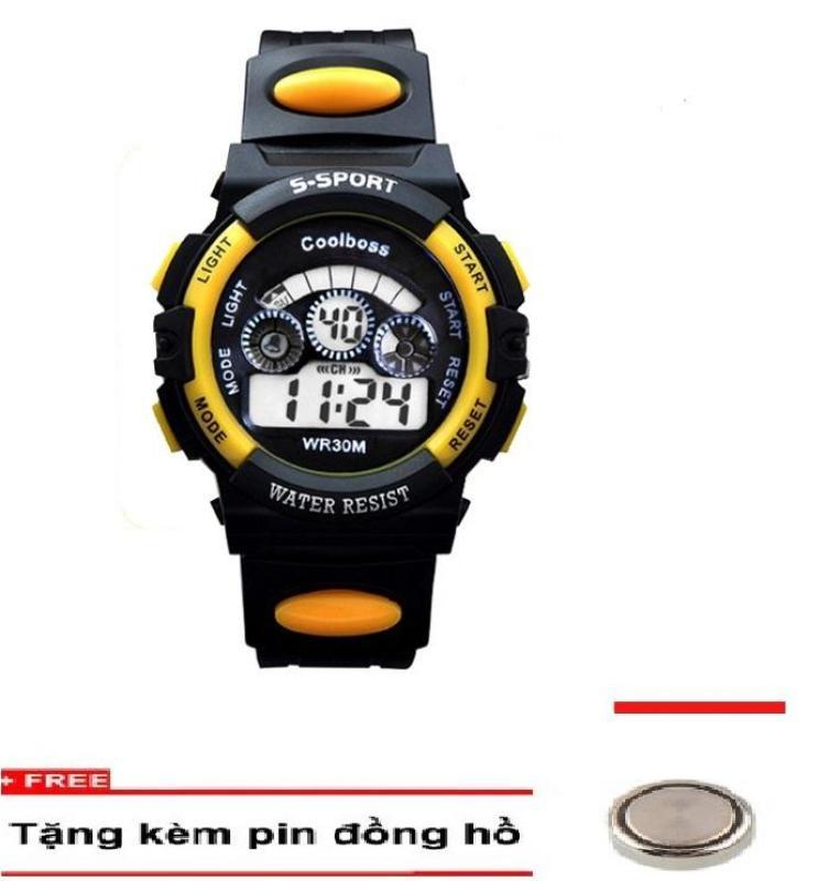 Nơi bán Đồng hồ trẻ em cao cấp COOLBOSS 0119 tặng kèm 01 pin ( Màu vàng )