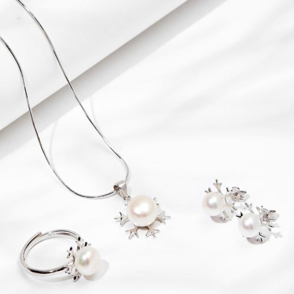 Bộ trang sức ngọc trai trắng bông tuyết đầu mùa bạc ý