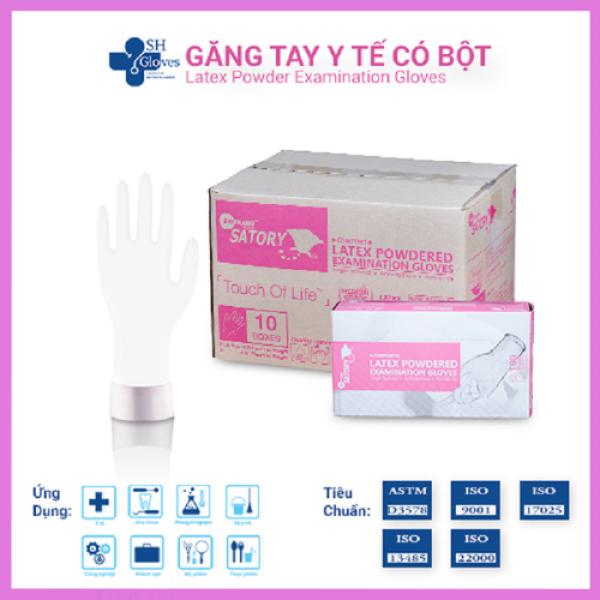 Găng tay có bột cao cấp Satory (Latex Powdered Gloves) Găng tay Thái Lan hộp 100 cái Màu trắng
