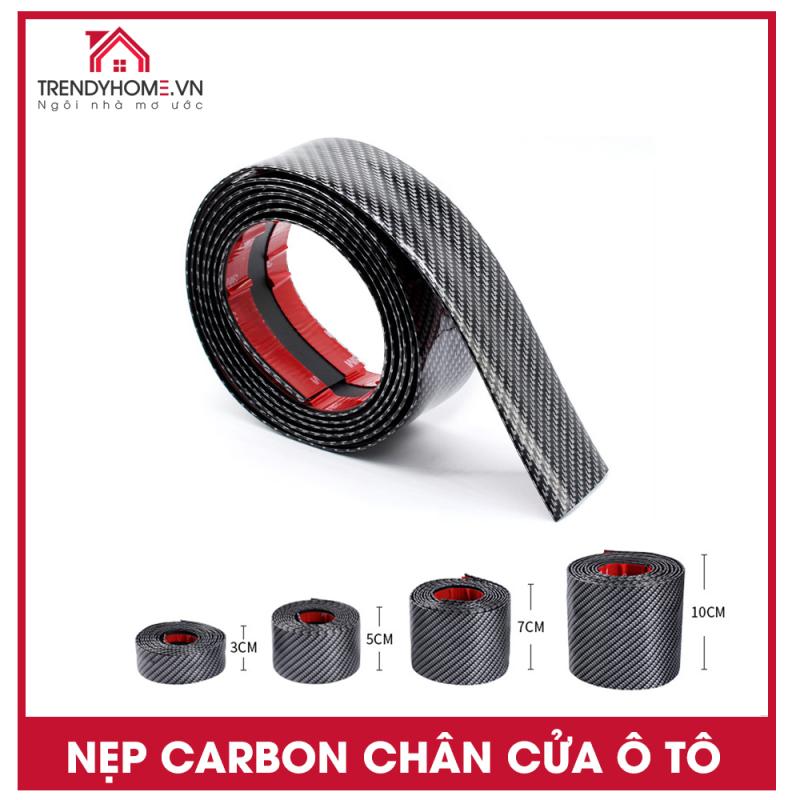 Nẹp carbon chống xước cửa lên xe ô tô, nẹp nhựa trang trí vân carbon 50 cm