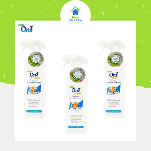 Nước rửa tay khô On1 chai 500ml dạng dung dịch xịt khuẩn nhanh an toàn cho da (combo 3 chai - hàng chính hãng ) cao cấp