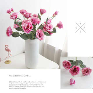 1 Cành 4 bông hoa Cát tường hoa lụa,hoa giả trang trí phòng khách, hoa giả trang trí, hoa giả treo tường, hoa giả để bàn, hoa giả cao cấp, hoa giả decor, hoa lụa trang trí, hoa giả MS 29 - Lanion House thumbnail