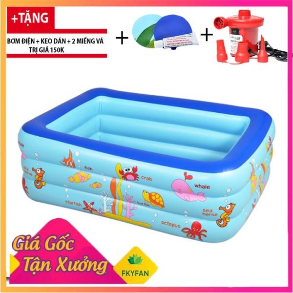 [Kèm Bơm Điện] Bể bơi phao 3 tầng 1m5 cho bé, bể bơi phao gia đình hình chữ nhật 3 tầng loại dày 150cmx110cmx50cm + Tặng keo và miếng vá